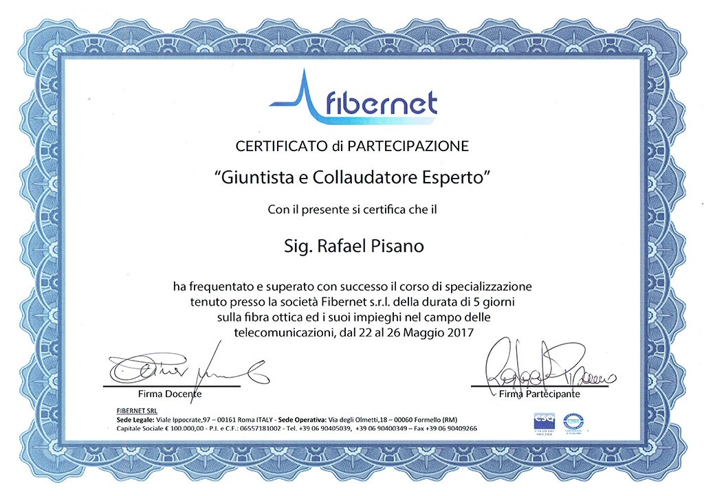 Attestato Fibra Ottica Fibernet