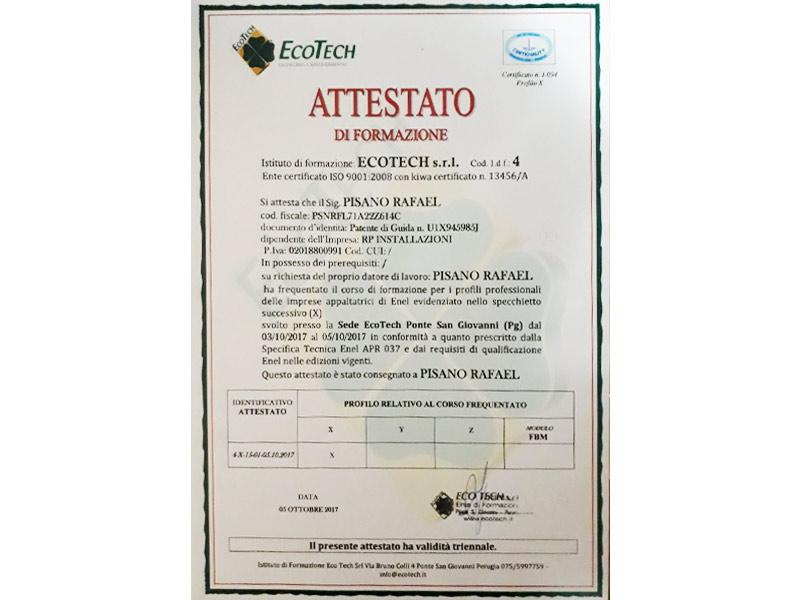Attestato Corso Enel APR 037