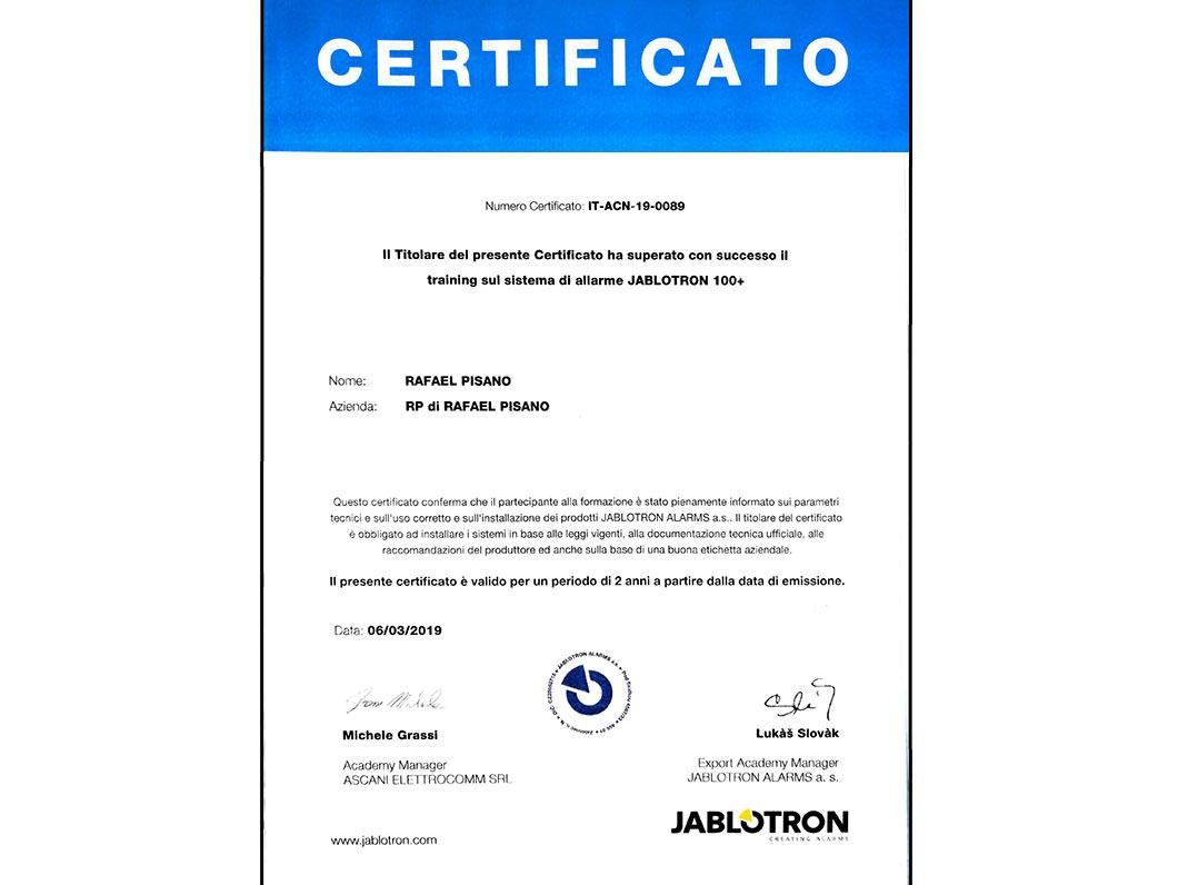 Training Sistema di Allarme Jablotron 100+